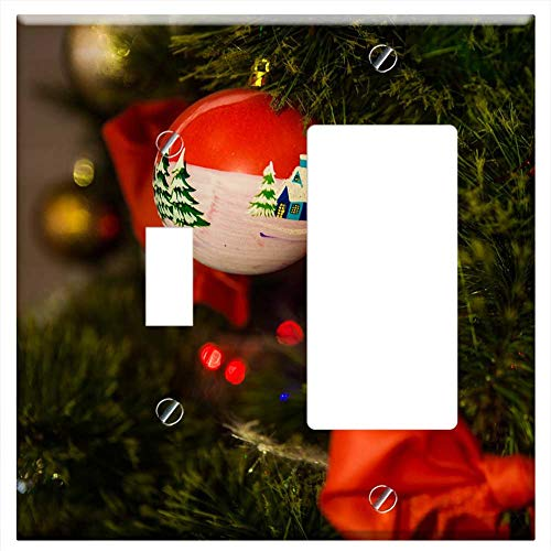 1-Toggle 1-Rocker/GFCI Combination Wall Plate Cover - Toy Christmas Ball New Year Eve Holiday Swag ()