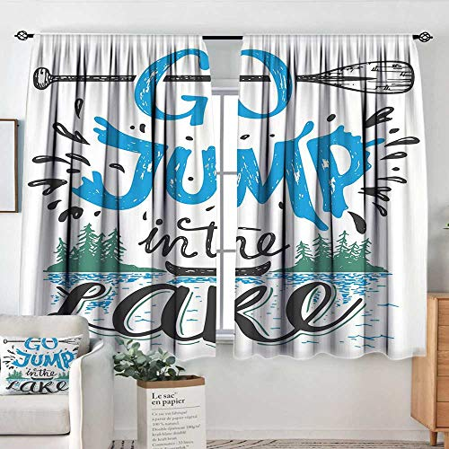 Elliot Dorothy Curtains for Living Room Cabin Decor,Vintage Typography Inspiration Quote Lake Sign Canoe Fishing Sports Theme,Blue Black Green,Darkening and Thermal Insulating Draperies ()