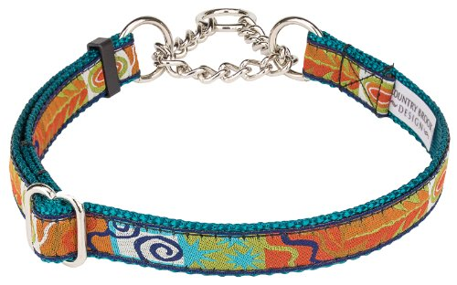 Fall Frenzy Woven Ribbon on Teal Half Check Dog Collar Limited Edition-Medium
