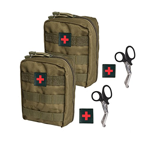 Krisvie Tactical EMT Medical Pouch 1000D Nylon Utility Bag with First Aid Patch and Shear (Green 2Pack) ()
