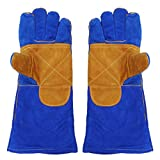 Freebily Men and Women Heavy Duty Heat Resistant & Flame Retardant 16 inches Cowhide Leather Welding Gloves