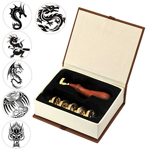 Dragon Wax Seal Stamp Set, VIHOME 6 Pieces Sealing Wax Stamps Copper Seals + 1 Piece Wooden Hilt, Vintage Antique Chinese Dragon Seal Wax Stamp Kit (6 Pieces Dragon Wax Seal Stamp Set)