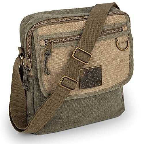 Small Messenger Bag for Men and Women with Adjustable Strap - 11 inch, Lightweight, Durable Canvas Shoulder Bags with Paracord Tabs, Metal Studs - Stylish, Unisex Crossbody Satchel