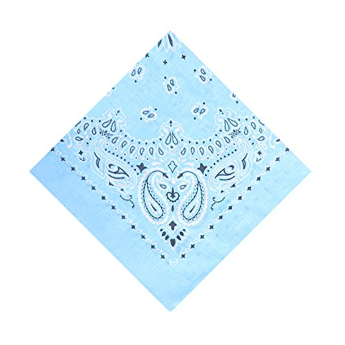 6 Pack Cotton Bandana Wreath Bandanas,Light Blue -