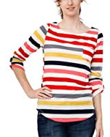 Ladies Green Yellow Multicolored Striped Tunic Pocket Top