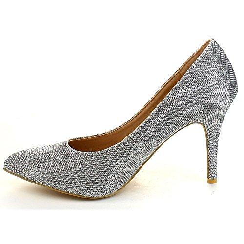 Zapatos De Tacón Con Plataforma De Malla De Plata Bella Marie Ada-5
