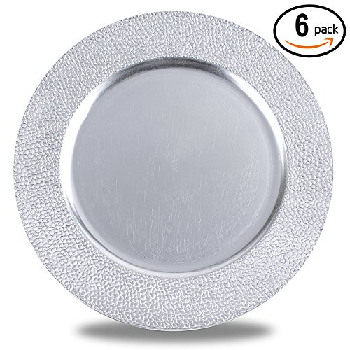 Silver Charger Plate (Fantastic 6-Piece Round Plates with Metallic Finish, 13 by 13 Inch - Stone Edge Silver)