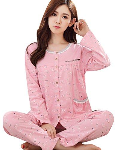 donna con Set bottoni fiori Pigiameria Piccoli colorato Top da Naughtyspicy a maniche e pantaloni lunghe pigiama Rosa design BFExqw