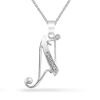 amazon com letter n cursive script initial pendant necklace pave cz