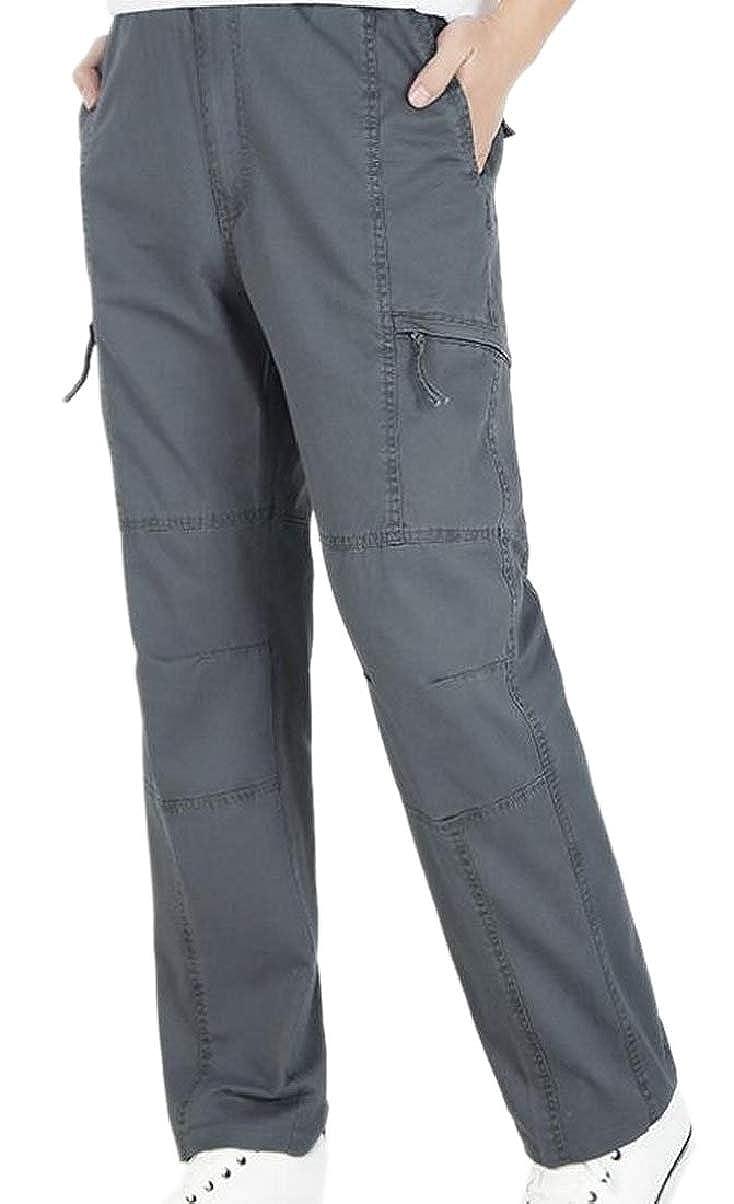ZXFHZS Mens Casual Straight-Legs Pants Oversize Multi Pockets Cargo Pants