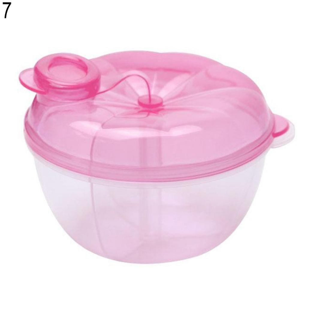Lastnight Baby Food 3 Interlayer Dispenser Storage Container Feeding Milk Powder Box (PinkPumpkin)