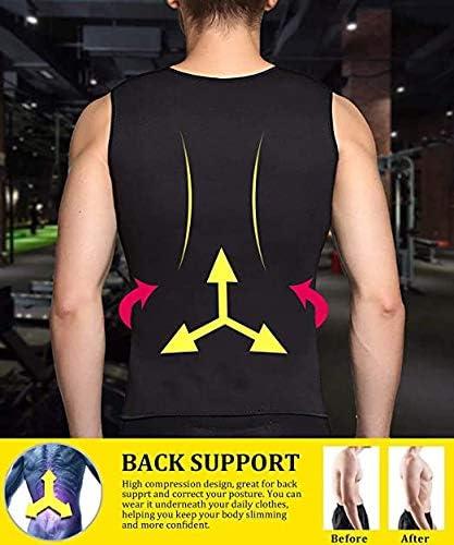 Feshioner Men's Waist Trainer Vest Hot Neoprene Sauna Suit Corset Body Shaper Sweat Vest Tank Top Workout Shirt 2