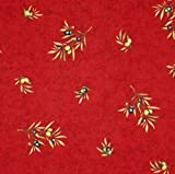 Christmas 60 x 130 inch Rectangle or Oval Stain Resistant Coated Tablecloth Olives all over in Red - Please Choose the Shape - Easy Care Cotton Acrylic French Provencal Fabric.