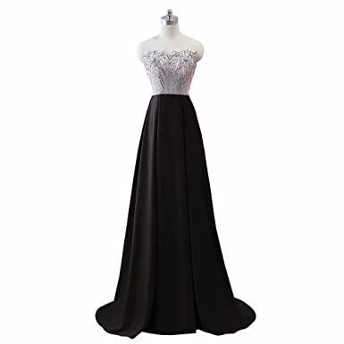 Sweetheart Satin Prom Dresses A Line 2018 Evening Dress for Women Formal Crystal Beaded Lace up