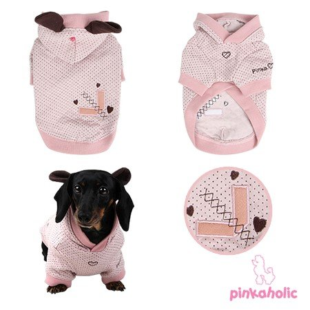 New York Dog Raincoat - Pinkaholic Blossom Swiss Dotted Quilted Knit Floppy Eared-hooded Sweater Coat in Lt. Pink Size Small (Neck 9, Chest 12.2