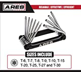 ARES 70077   10-Piece Tamper Proof Folding Star Key Set   Sizes Include Security Torx T-6 to T-30