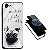 iPhone 6S 6 Cover [Supports QI Wireless Charging], Vandot Clear Sleek 9H Hardness Hard Back + Soft TPU Frame Bumper + Colorful PC Panel Hybrid Protection Scratch-Resistant Protective Case-Puppy Dog