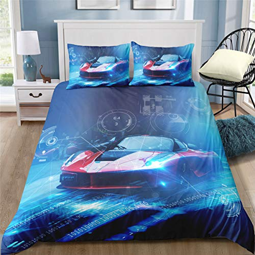 Cars 2 Piece Bath - Helehome Race Car Duvet Cover Sets Boy's Sport Bedding Set with Zipper Closure for Kids 2 Piece Brushed Microfiber Fabric Print,Twin Size