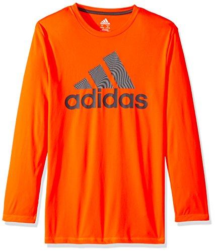 adidas Boys Big Basic Long Sleeve Tee Shirt, Wave Solar Red, XL