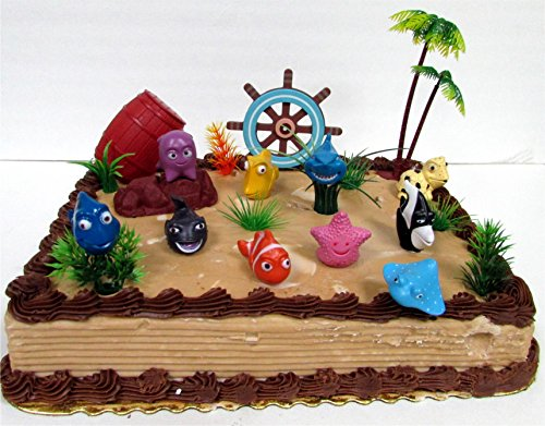 Under the Sea 17 Piece Birthday Cake Topper Set Featuring Figures and Decorative Themed -