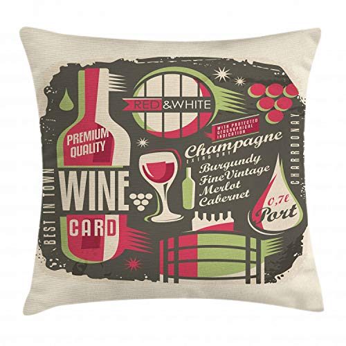 Ambesonne Wine Throw Pillow Cushion Cover, Retro Poster Pattern with Alcoholic Hard Drinks Bottles Merlot Cabernet Restaurant, Decorative Square Accent Pillow Case, 24