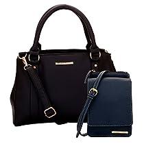 Lapis O Lupo Combo Blanche Women Handbag and Mobile Sling Bag (BlackB