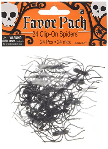 Amscan Creepy Halloween Clip On Spider Party Favor (24 Pack), 1 3/4