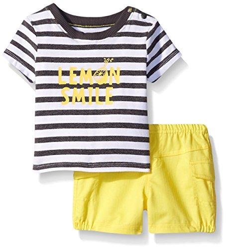 absorba Baby Boys' Blue Plaid Short Set, Black Stripe, 3-6m ()