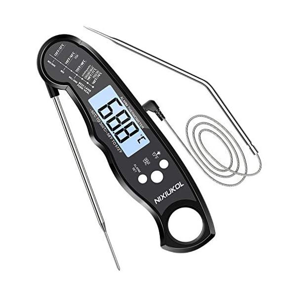 NIXIUKOL Termometro Cucina Digitale Lettura Istantanea Termometro Barbecue con 2 Acciaio Inossidabile Sonda, Display LCD… 1