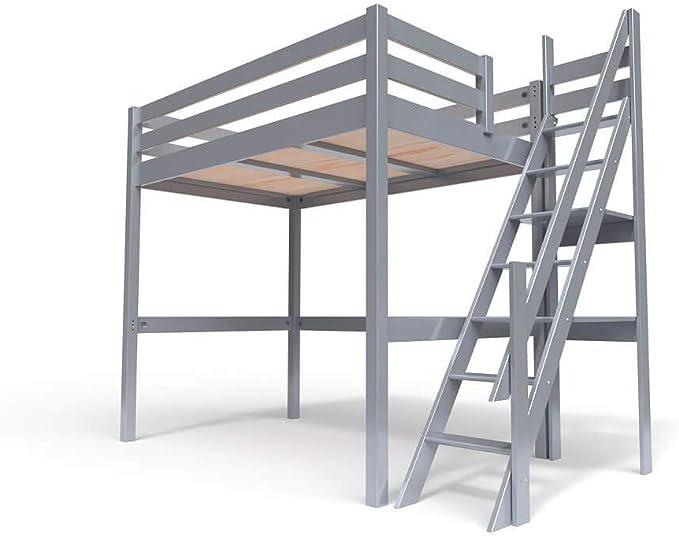ABC MEUBLES - Cama Alta Sylvia con Escalera empinada - 1130 - Gris Aluminio, 120x200: Amazon.es: Hogar