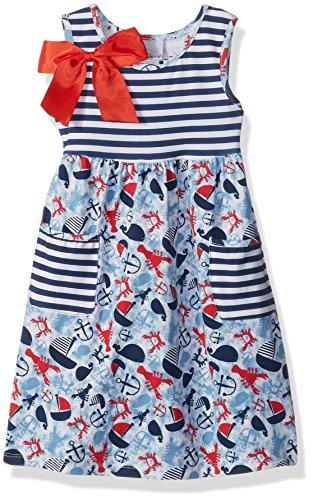 Flap Happy Little Girls' Simone Secret Pocket Dress, Lobster Lagoon, 2 ()