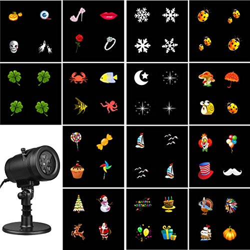 Excelvan Slide Show Bulbhead Projection LED Lights, 14 Switchable Slides, Auto Rotating, Wall Motion Party, Club Decoration (Rotating Lamp Motion)