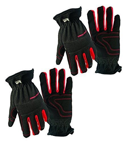 2 Pair Value Pack Medium Big Time Products Grease Monkey Utility Work Gloves With Synthetic Leather Palm & Shirred Wrist (Medium) by Grease Monkey