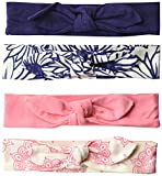 Touched by Nature Baby Girls' 4-Pack Organic Cotton Headbands, 0-24 Months