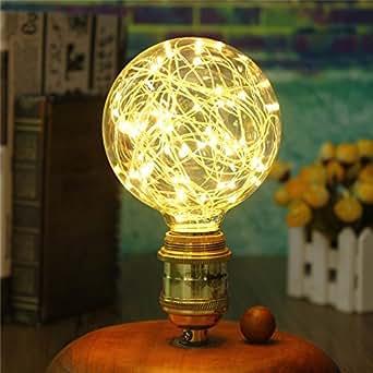 Iluminación Vintage, VSOAIR Bombillas LED con 3W G95 Vintage Edison Iluminación Bombilla de Fuego Blanco Cálido 2400K