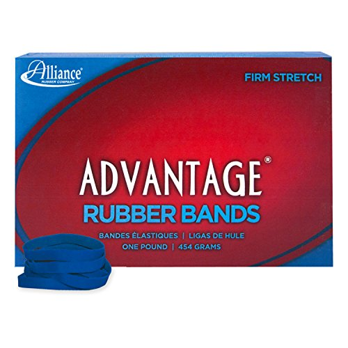 "Alliance Rubber 54615 Advantage Rubber Bands Size #61, 1 lb Box Contains Approx. 535 Bands (2"" x 1/4"", Blue)"