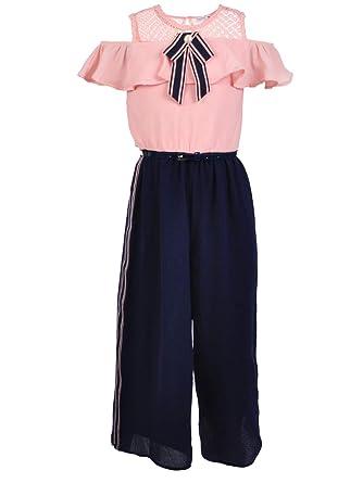 d0565430370 Amazon.com  Beautees Big Girls  Belted Cold Shoulder Jumpsuit - Navy ...