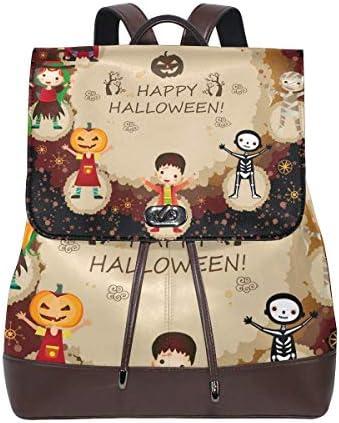 Flyup Women Leather Halloween Characters Backpack Purse Travel Schoolbag Shoulder Bag Casual Daypack Damen Leder Rucksack