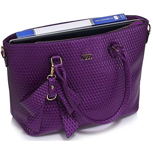Púrpura Las Del Bolsos Falso Bandolera Encanto Grandes Arco Las De De Asas 348 Cuero Hombro Mujeres Leahward Bolsas Agradables De qxxPfwH4