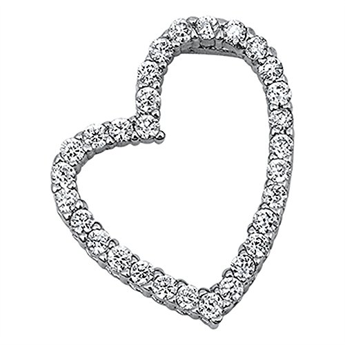 Heart Pendant Slanted Heart Round Cubic Zirconia 925 Sterling Silver (18mm) (Pendant Heart Necklace Slanted)