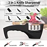 Chefavor Knife Sharpener - Professional 3 Stage Manual Sharpening Helps Repair, Restore