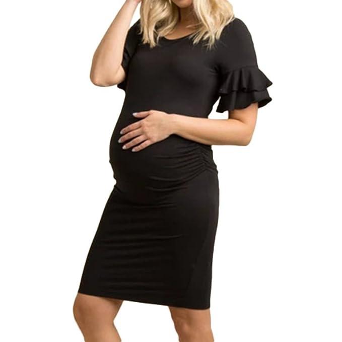 Vestido Maxi de Mangas Cortas de Verano para Embarazadas, Manga Corta con Volantes, Cuello