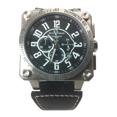 2940b7b640b4 Reloj Paul Versan PV4168-NN caballero correa piel negra  Amazon.es  Relojes