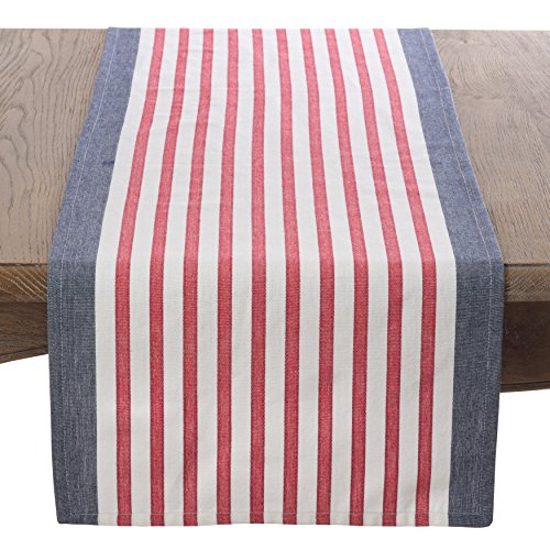 Saro LifeStyle 8027.NB1672B  American Flag Red White & Blue Stripe Cotton Table Runner  , Navy Blue, (Patriotic Centerpiece)
