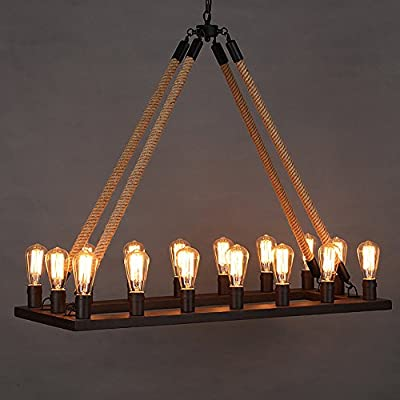 Ladiqi Rope Chandelier Ceiling Light Industrial Rustic Lighting Vintage Rectangle Pendant Lamp Island Lights