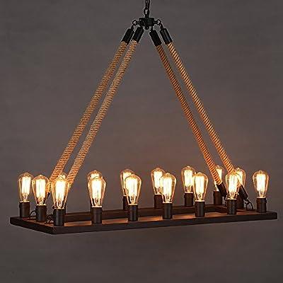 Ladiqi Vintage Rope Chandelier Industrial Barn Pendant Light Rectangle Ceiling Lights Island Lamp
