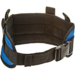 """Sammons Preston Padded Gait Belt with Handles, 5.5"""" Wide Transfer Belt with 4 Loops & Quick Release Buckle, Handled Limited Mobility Aid Belt for Patient Care, Blue, Small Belt Fits 24""""-30"""" Waist"""