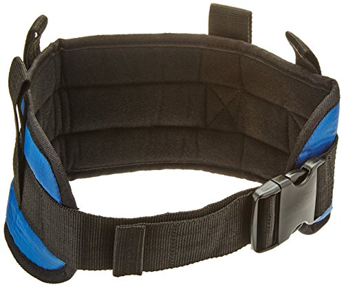 Sammons Preston Padded Gait Belt with Handles, 5.5″ Wide Transfer Belt with 4 Loops & Quick Release Buckle, Handled Limited Mobility Aid Belt for Patient Care, Blue, Small Belt Fits 24″-30″ Waist