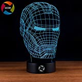 3D Optical Illusion Night Light - 7 LED Color Changing Lamp - Cool Soft Light Safe For Kids - Solution For Nightmares - Marvel Comics Avengers Iron Man Mask