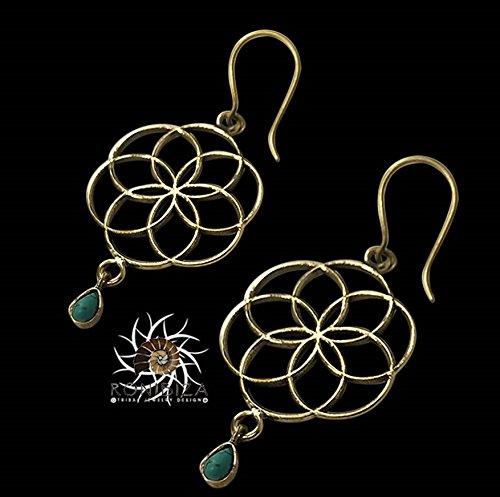 Brass Earrings - Tribal Earrings - Gypsy Earrings - Ethnic Earrings - Brass Jewelry - Gemstone Earrings - Long Earrings - Statement ()